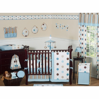 Mod Dots Blue Crib Bedding Collection