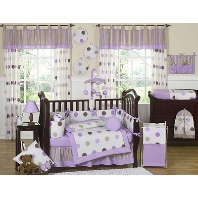Mod Dots Purple Crib Bedding Collection