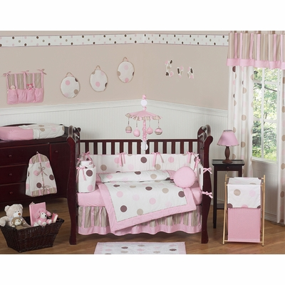 Mod Dots Pink Crib Bedding Collection