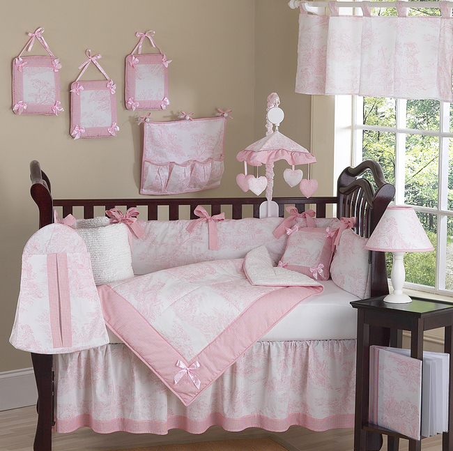Pink Toile 9 Piece Crib Bedding Collection