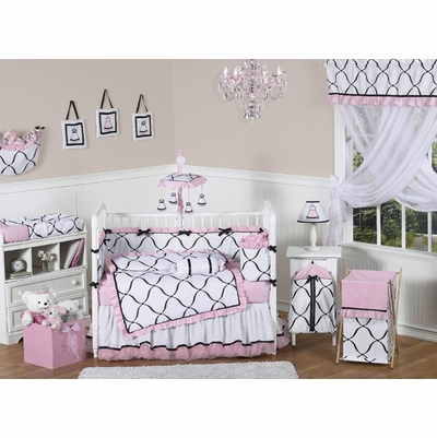 Princess Black, White and Pink Crib Bedding Collection