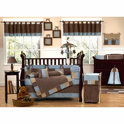 Soho Blue and Brown Crib Bedding Collection