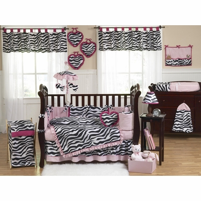 Zebra Pink Crib Bedding Collection
