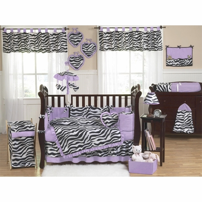 Zebra Purple Crib Bedding Collection