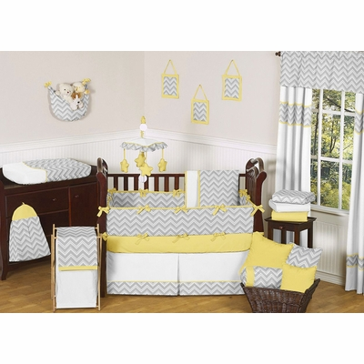 Zig Zag Yellow and Gray Chevron Crib Bedding Collection