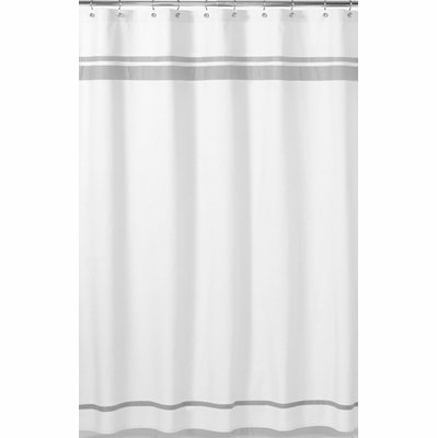 Hotel White And Gray Shower Curtain