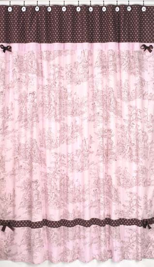 Pink Brown Toile Shower Curtain