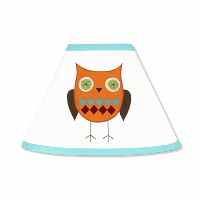 Hooty Turquoise and Lime Lamp Shade