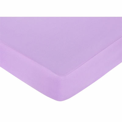 Daisies Crib Sheet - Solid Light Purple