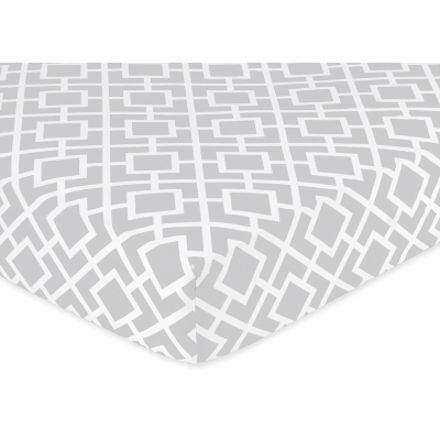 Diamond Gray and White Crib Sheet - Diamond Print