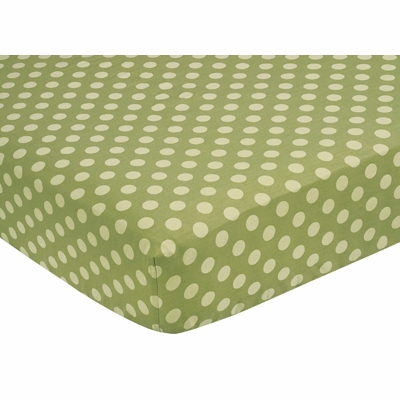 Forest Friends Collection Fitted Crib Sheet - Tonal Green Dot