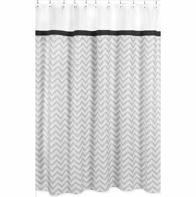 Zig Zag Black and Gray Chevron Shower Curtain