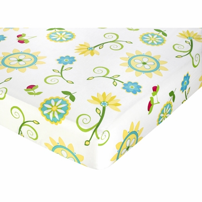 Layla Collection Fitted Crib Sheet - Floral Print