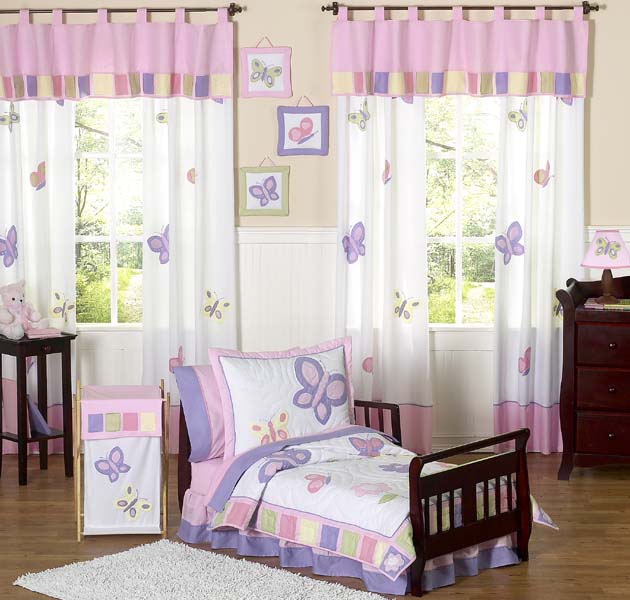butterfly pink and purple toddler bedding collection - Toddler Bedding Set