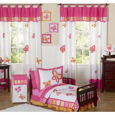 Butterfly Pink and Orange Toddler Bedding Collection
