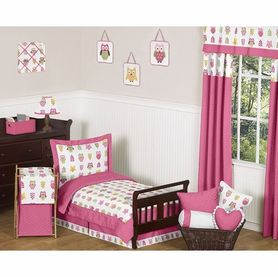 Owl Pink Toddler Bedding Collection