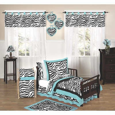 Zebra Turquoise Toddler Bedding Collection