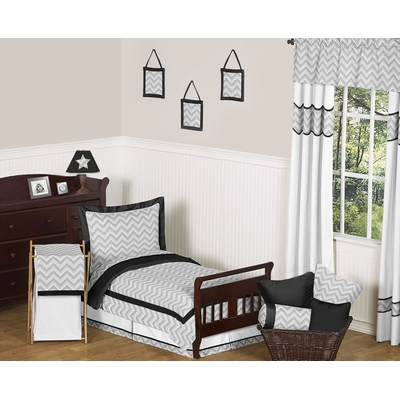 Zig Zag Black and Gray Chevron Toddler Bedding Collection