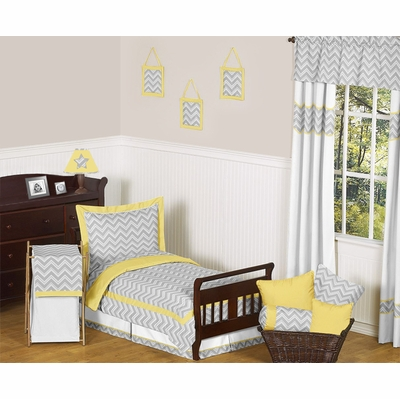 Zig Zag Yellow and Gray Chevron Toddler Bedding Collection