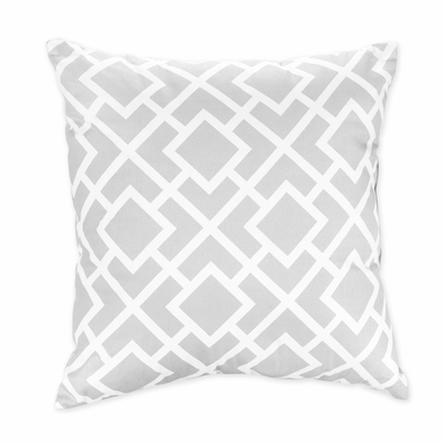 Diamond Gray and White Decorative Accent Throw Pillow