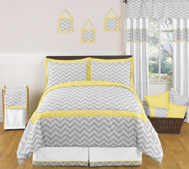Zig zag yellow and gray chevron full queen bedding collection Gray and yellow bedroom
