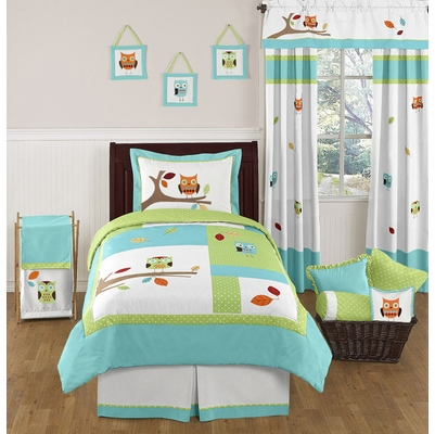Hooty Turquoise and Lime Twin Bedding Collection