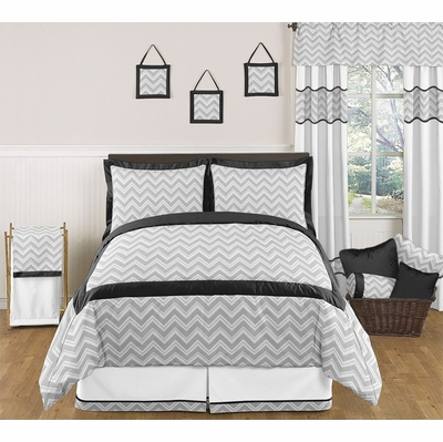 Zig Zag Black and Gray Chevron Full/Queen Bedding Collection