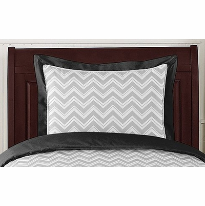 Zig Zag Black and Gray Chevron Pillow Sham