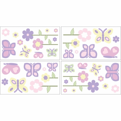 Butterfly Pink and Purple Wall Decals - Set of 4 Sheets