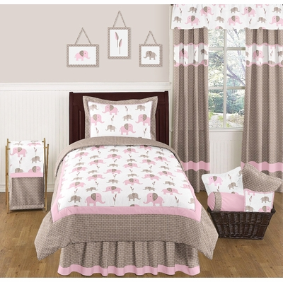 Elephant Pink Twin Bedding Collection
