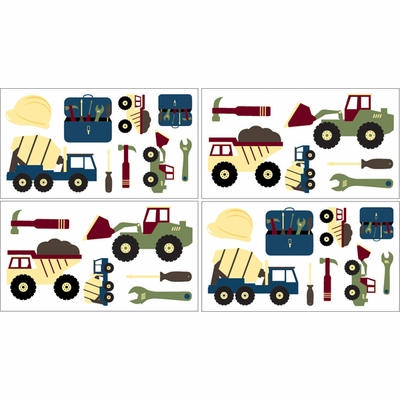 Construction Wall Decals - Set of 4 Sheets