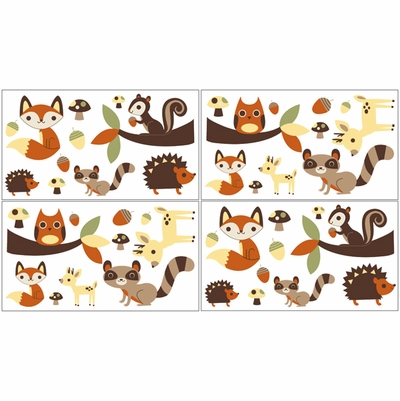 Forest Friends Collection Peel and Stick Wall Decal Stickers - Set of 4 Sheets