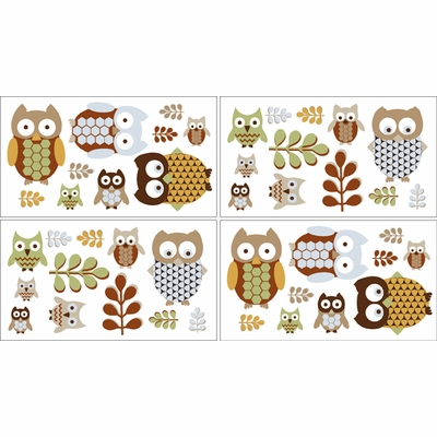 Owl Wall Decals - Set of 4 Sheets