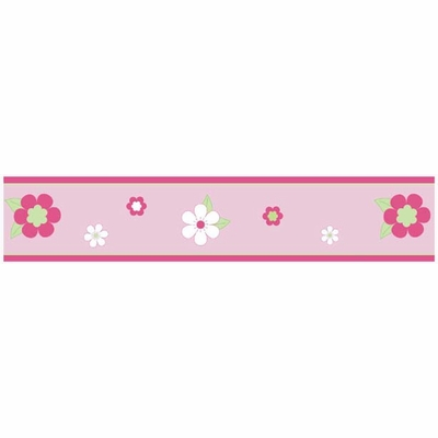 Flower Pink and Green Wallpaper Border