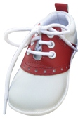 Angel Shoe Red and White Leather Saddle Oxford Lace-Up Shoe 2-6