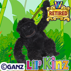 HS040 LIL KINZ GORILLA (RETIRED) WebKinz UNUSED CODE ONLY - NO PLUSH - Delivered By Email