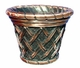 "Copper Glass - Small Basket Weave Planter 16"" - Regular Copper Finish"