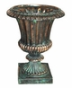 "Copper Glass - Small Fluted Urn 17"" - Antique Copper Finish"