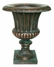 "Copper Glass - Large Fluted Urn 22 3/4"" - Antique Copper Finish"