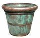 "Copper Glass - Small Rolled Rim Planter 16 1/2"" - Antique Copper Finish"