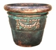 "Copper Glass - Small Garland Rolled Rim Planter 16"" - Antique Copper Finish"