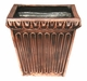 "Copper Glass - Fluted Square Planter 12 3/4"" - Regular Copper Finish"