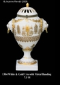 Jeanne Reed's - White & Gold Urn w/metal banding