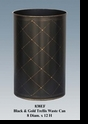 Jeanne Reed's - Black/Gold Trellis Waste Can