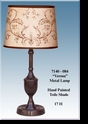 "Jeanne Reed's - Metal Lamp ""Verona"" brown toile painted shade"