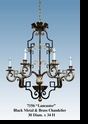 "Jeanne Reed's - ""Lancaster"" Black Metal & Brass Chandelier"