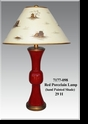 Jeanne Reed's - Red Porcelain Lamp with hand painted Shade