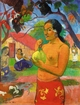 Art - Oil Paintings - Masterpiece #4129 - Paul Gauguin - Woman Holding a Fruit - Gallery Quality