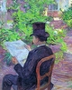 Art - Oil Paintings - Masterpiece #4175 - Henri Toulouse-Lautrec - Desire Dihau Reading a Newspaper in the Garden - Museum Quality