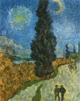 Art - Oil Paintings - Masterpiece #4245 - Vincent Van Gogh - Road with Cypress and Star - Museum Quality